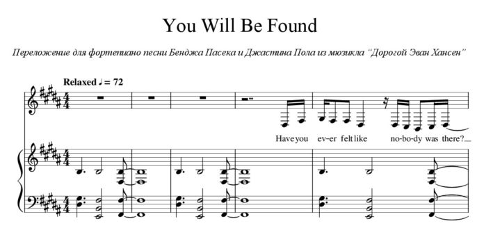 «You Will Be Found»: ноты для фортепиано