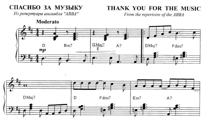 «Thank You for the Music»: ноты для фортепиано