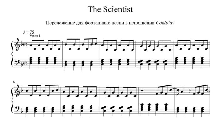 Coldplay. «The Scientist»: ноты для фортепиано