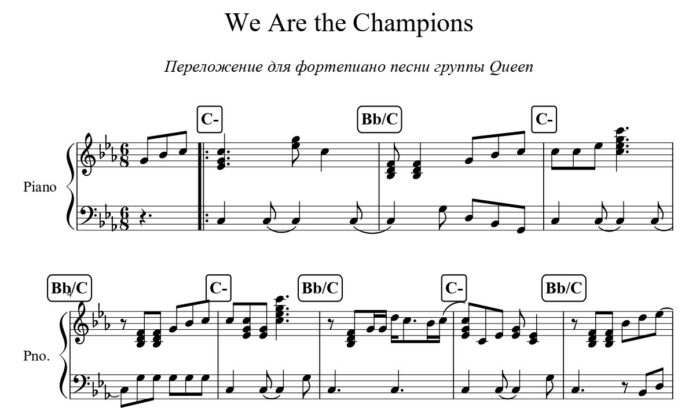 «We Are the Champions»: ноты для фортепиано