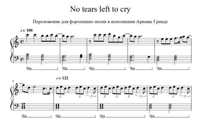 Ariana Grande. «No tears left to cry»: ноты для фортепиано