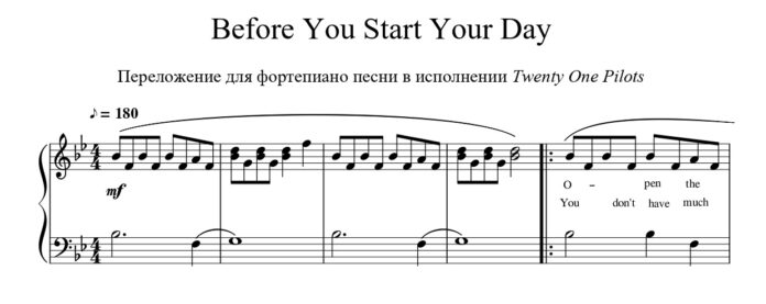 Twenty One Pilots. «Before You Start Your Day»: ноты для фортепиано