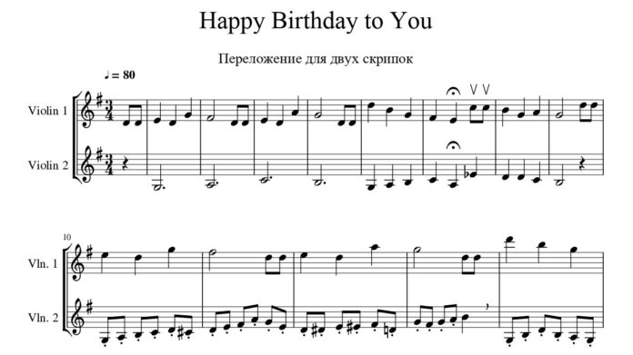 «Happy Birthday to You»: ноты для скрипки
