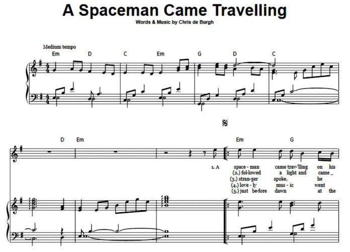 «A Spaceman Came Travelling»: ноты для фортепиано