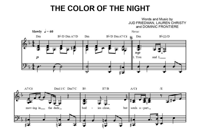 «The Color of the Night»: ноты для фортепиано
