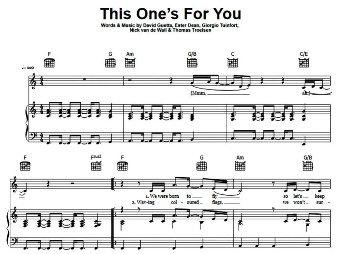 David Guetta. «This One's For You»: ноты для фортепиано