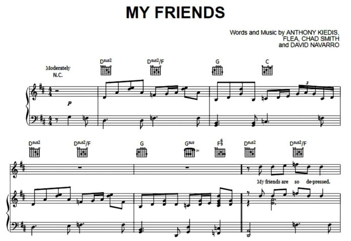 Red Hot Chili Peppers. «My Friends»: ноты для фортепиано