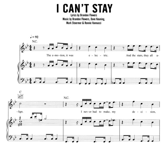 The Killers. «I Can't Stay»: ноты для фортепиано