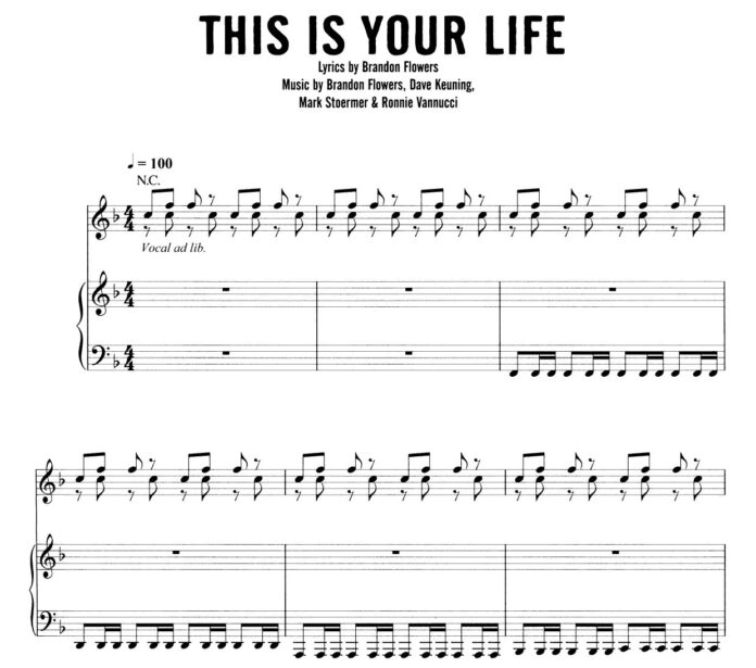 The Killers. «This Is Your Life»: ноты для фортепиано