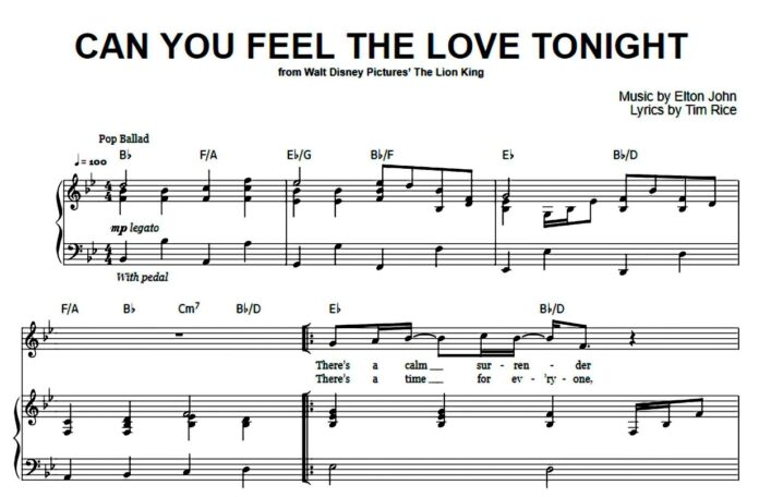 «Can You Feel The Love Tonight»: ноты для фортепиано