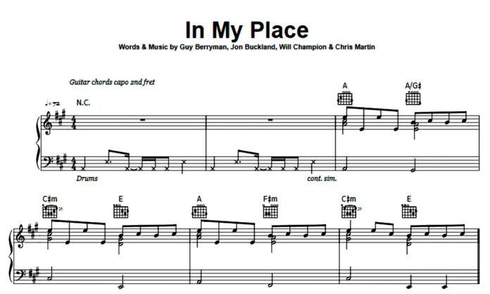 Coldplay. «In My Place»: ноты для фортепиано