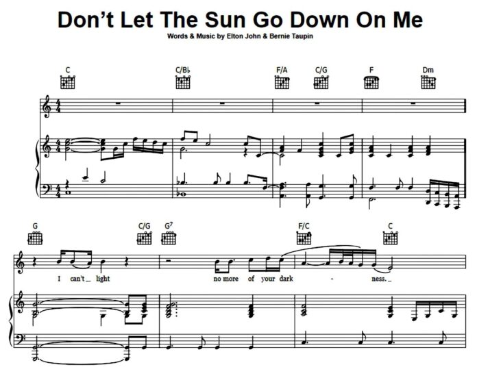 Elton John. «Don't Let the Sun Go Down on Me»: ноты для фортепиано