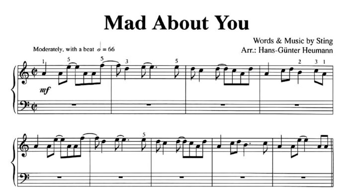 Sting. «Mad About You»: ноты для фортепиано