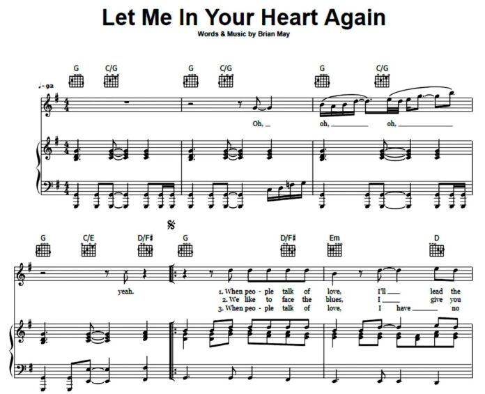 «Let Me In Your Heart Again»: ноты для фортепиано