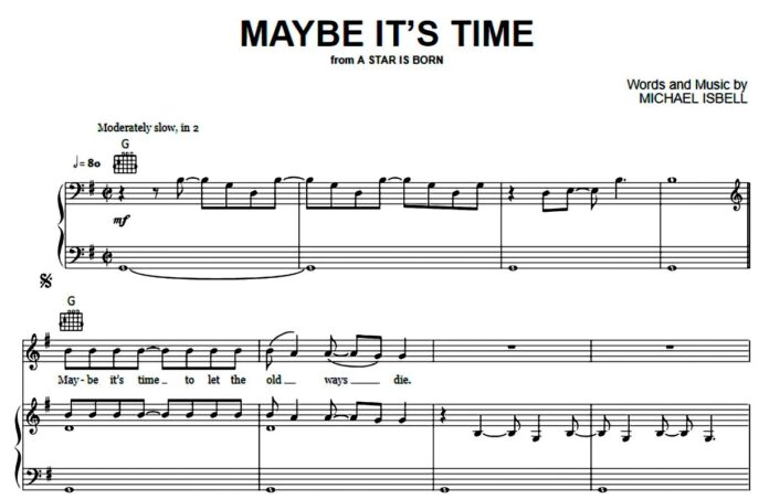 «Maybe It's Time»: ноты для фортепиано
