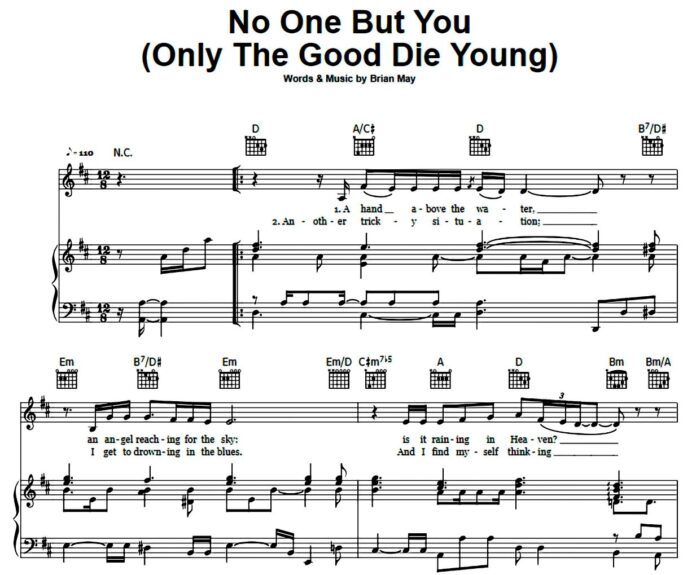 Queen. «No One But You»: ноты для фортепиано