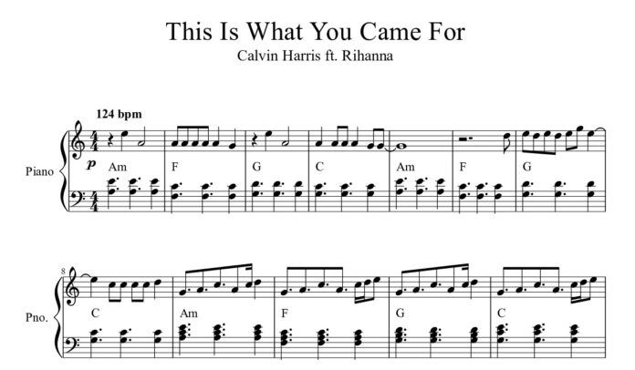 Rihanna. «This Is What You Came For»: ноты для фортепиано