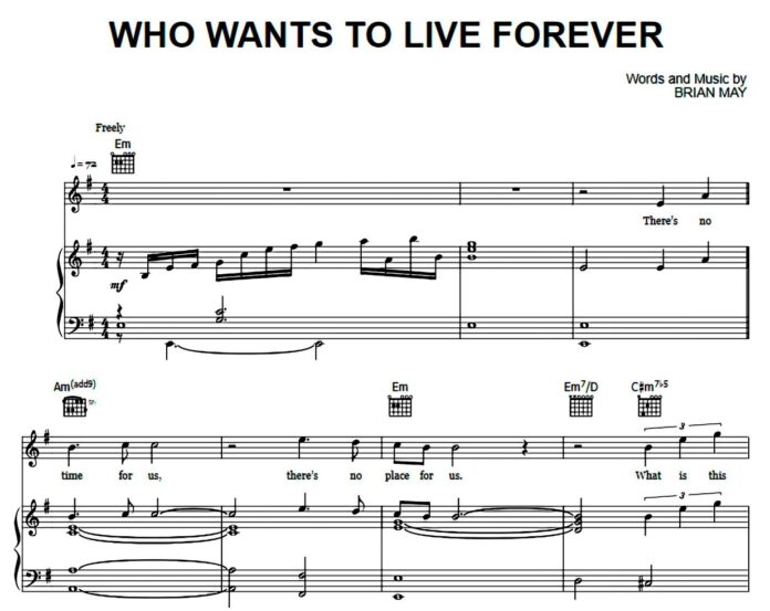 «Who Wants To Live Forever»: ноты для фортепиано