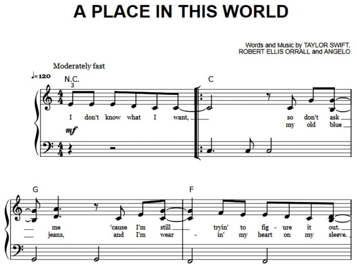 Taylor Swift. «A Place in this World»: ноты для фортепиано