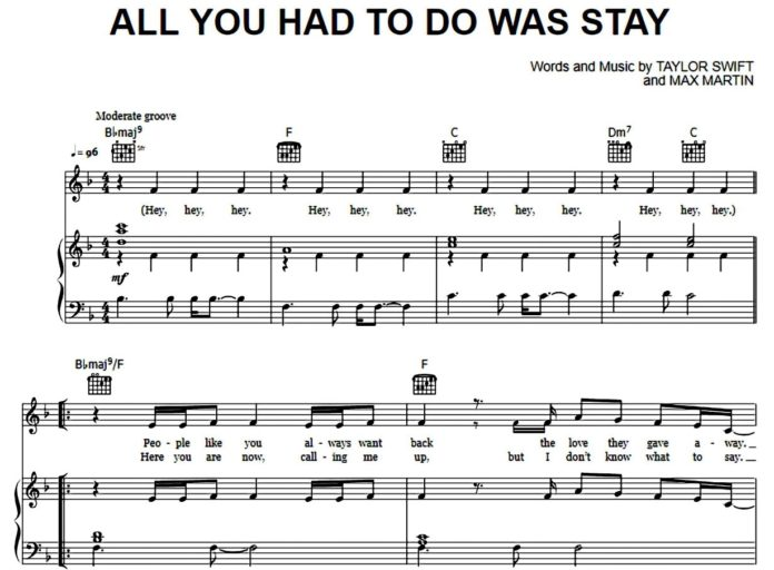 Taylor Swift. «All You Had To Do Was Stay»: ноты для фортепиано