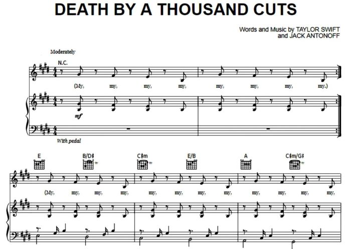 Taylor Swift. «Death By A Thousand Cuts»: ноты для фортепиано