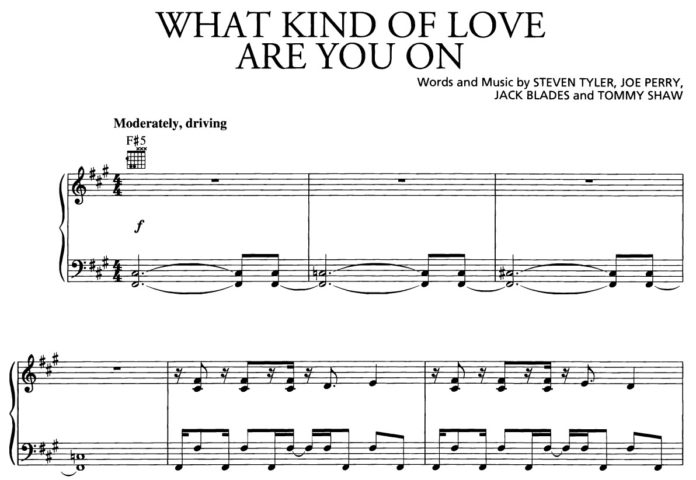 Aerosmith. «What Kind of Love Are You On»: ноты для фортепиано